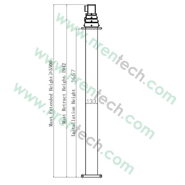 5.5m pneumatic telescopic mast